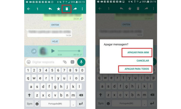 Como apagar áudio do WhatsApp passos
