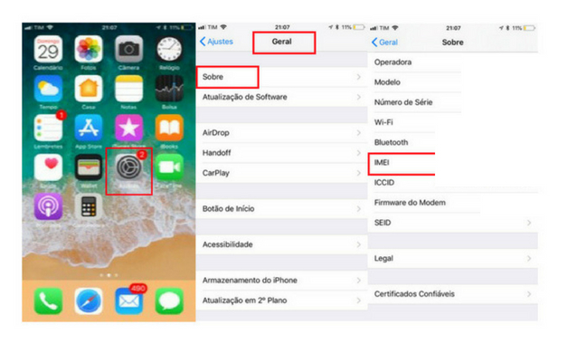 Como descobrir o imei do iPhone