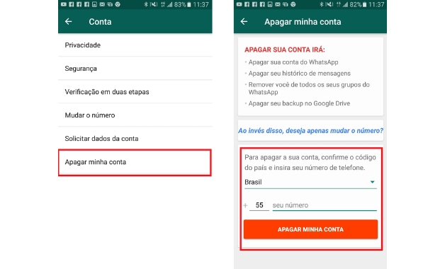 Como excluir WhatsApp